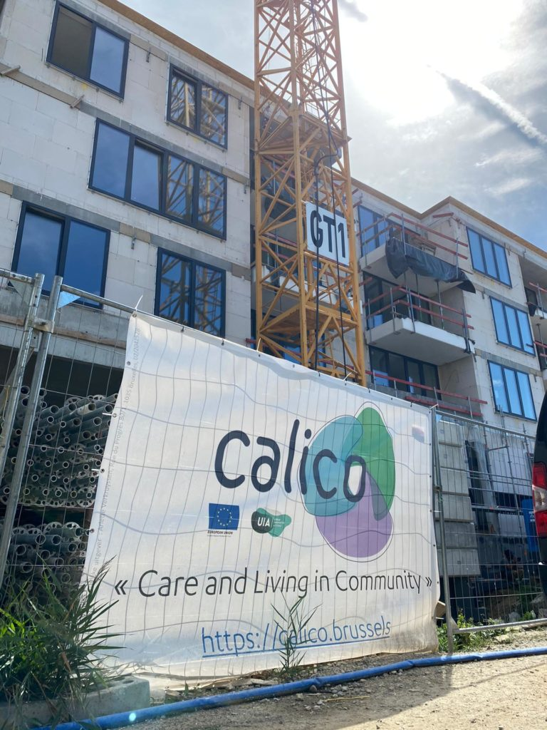 Calico banner on the construction site